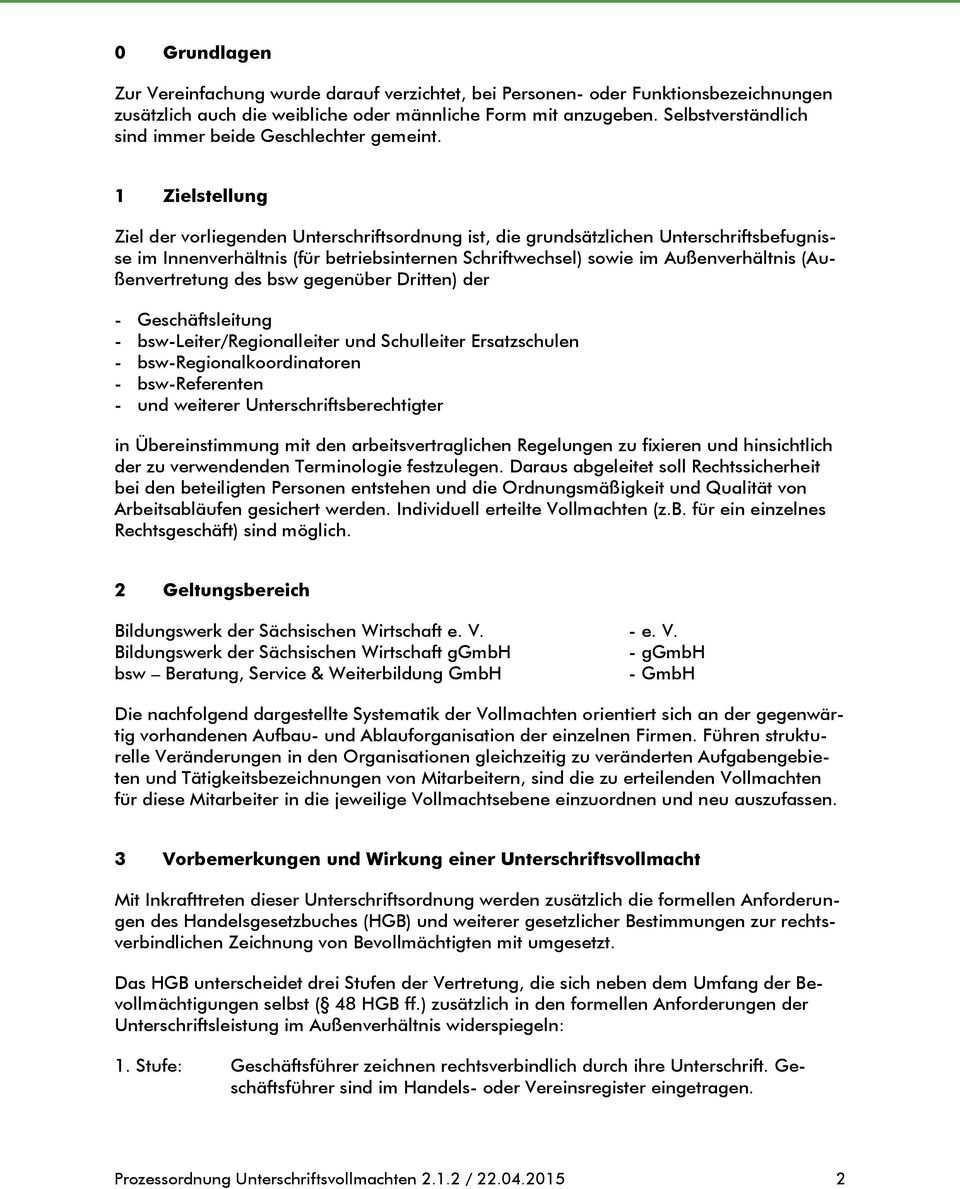 Prozessordnung Unterschriftsvollmachten Pdf Kostenfreier Download