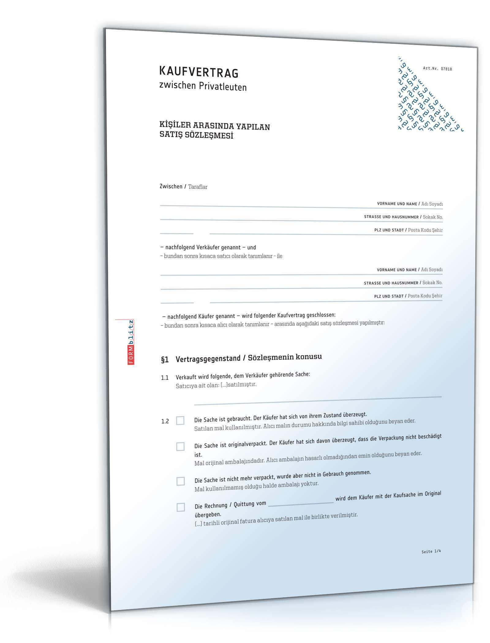 Privater Kaufvertrag Turkisch Deutsch Muster Zum Download