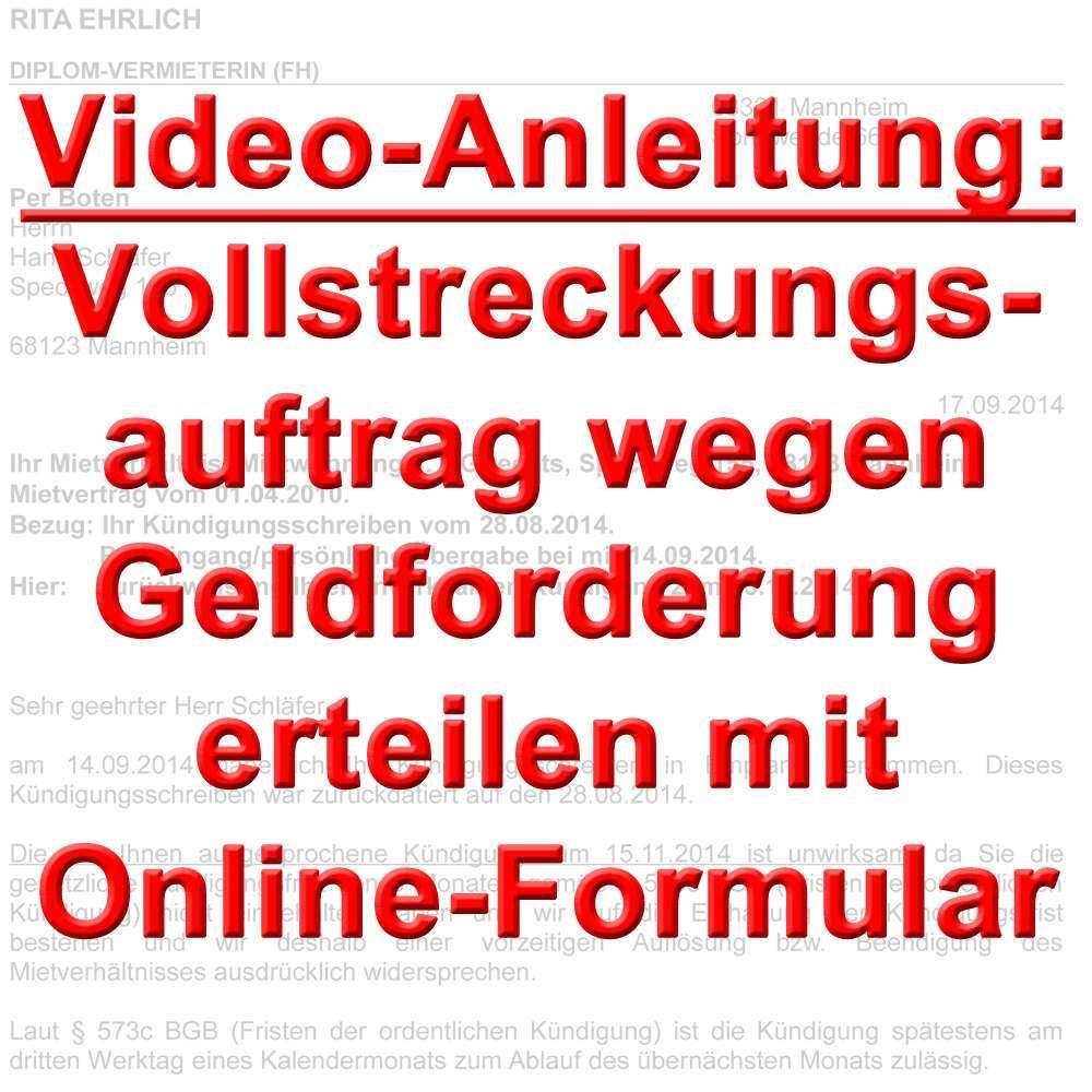 Video Vollstreckungsauftrag Wegen Geldforderung Online
