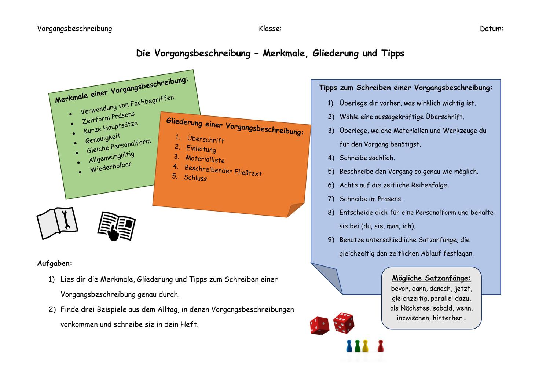 Vorgangsbeschreibung Merkmale Gliederung Tipps Unterrichtsmaterial Im Fach Deutsch Vorgangsbeschreibung Unterrichtsmaterial Tipps