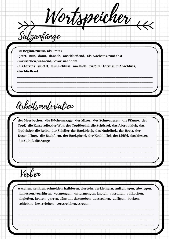 Wortspeicher Rezept Vorgangsbeschreibung Unterrichtsmaterial Im Fach Deutsch Vorgangsbeschreibung Wort Neue Worter