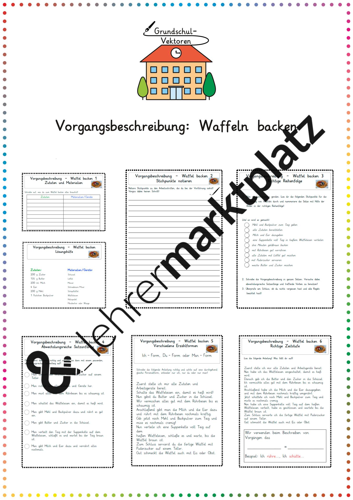 Vorgangsbeschreibung Waffeln Backen Unterrichtsmaterial In Den Fachern Daz Daf Deutsch Vorgangsbeschreibung Waffeln Backen Daf