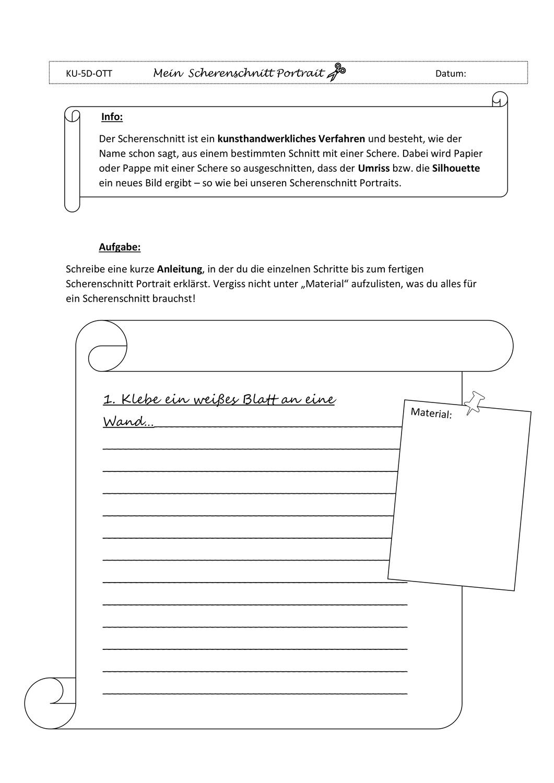 Scherenschnitt Arbeitsblatt Scherenschnitt Vorgangsbeschreibung Farbenlehre
