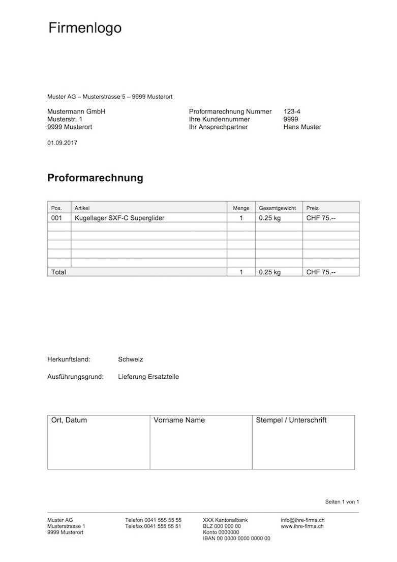 Proformarechnung Vorlage Word Excel Format Muster Vorlage Ch