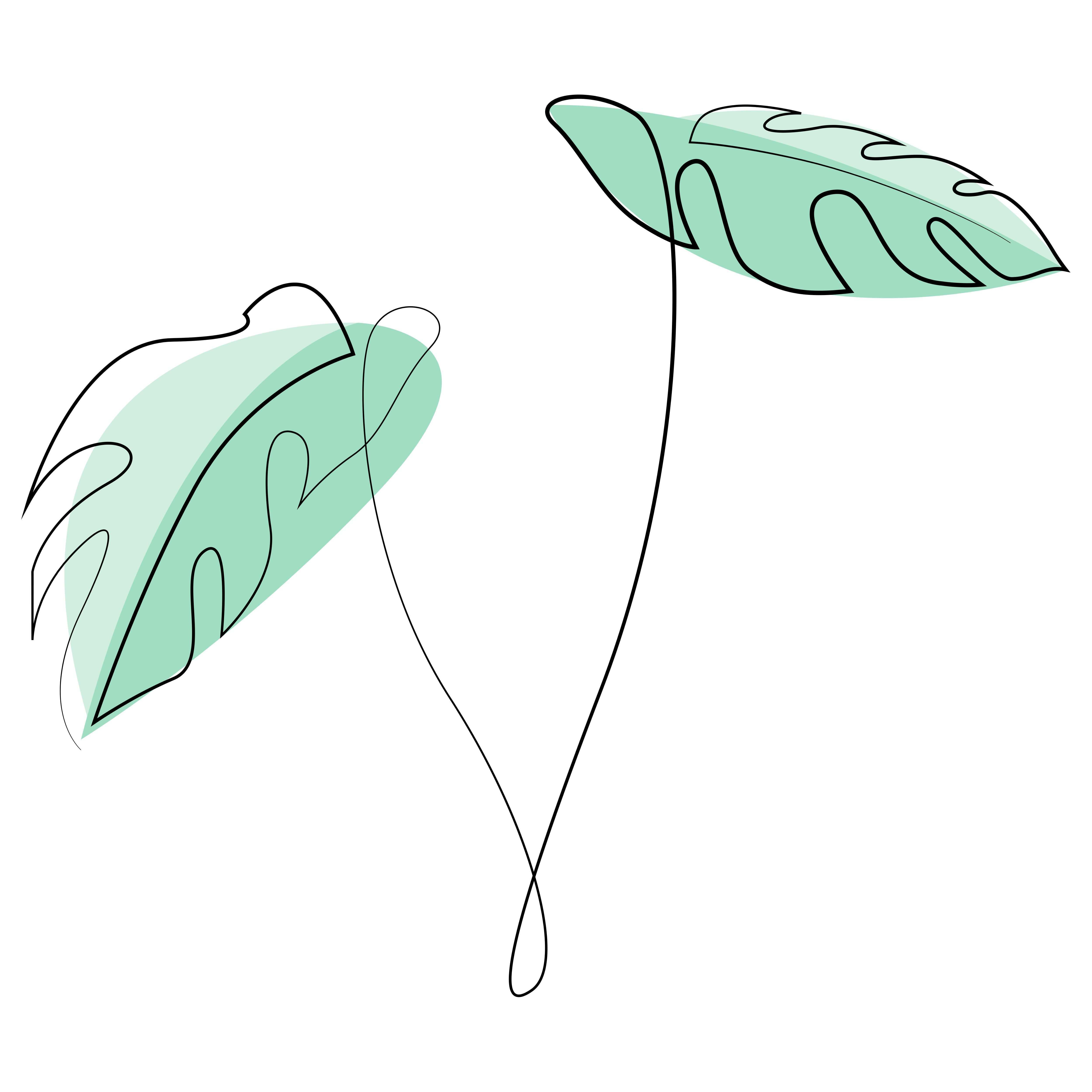 Monstera Leaves One Line Drawing By Addillum Line Art Line Art Drawings Line Drawing