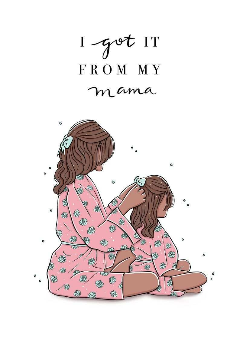 Customisable Mother And Daughter Print Mum And Daughter Etsy Mother And Daughter Drawing Mother Daughter Art Mother Art