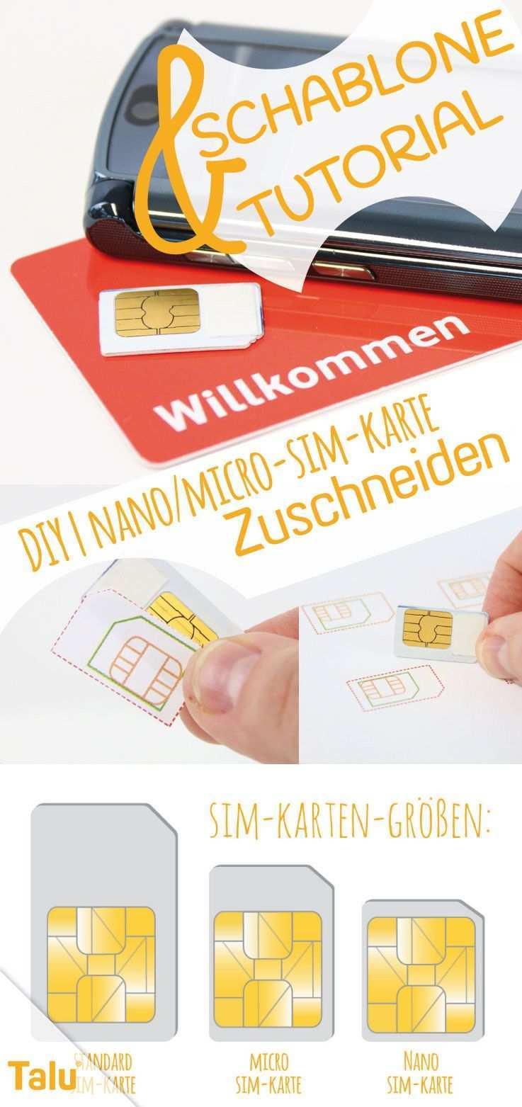 Diy Nano Micro Sim Karte Zuschneiden Tutorial Schablone Talu De Vorlagen Sim Karte Konzept