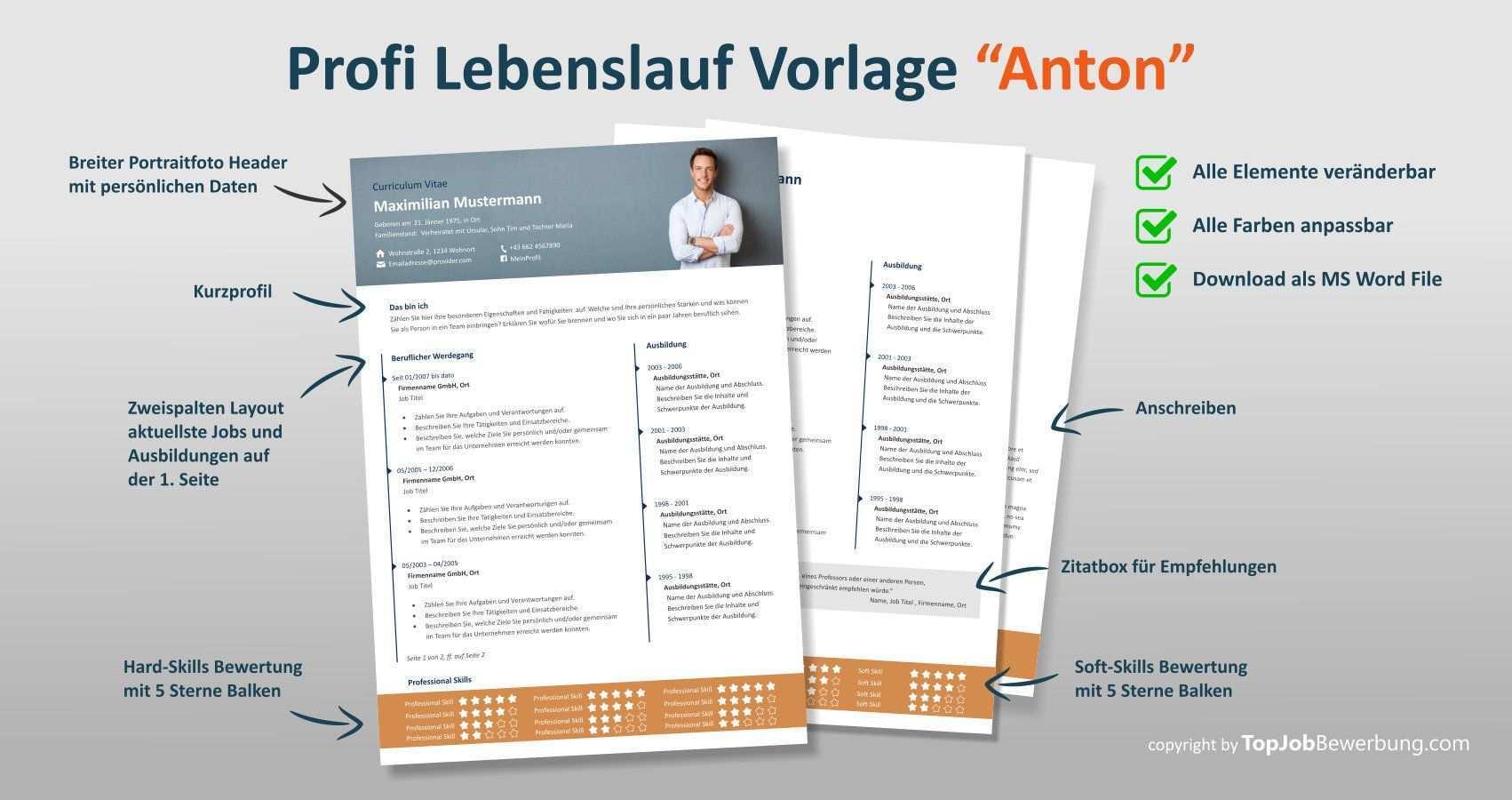 Lebenslauf Vorlage Anton Erste Und Zweite Seite Plus Anschreiben Alle Im Ms Word Format Zum Downloaden Lebenslauf Vorlagen Lebenslauf Vorlagen
