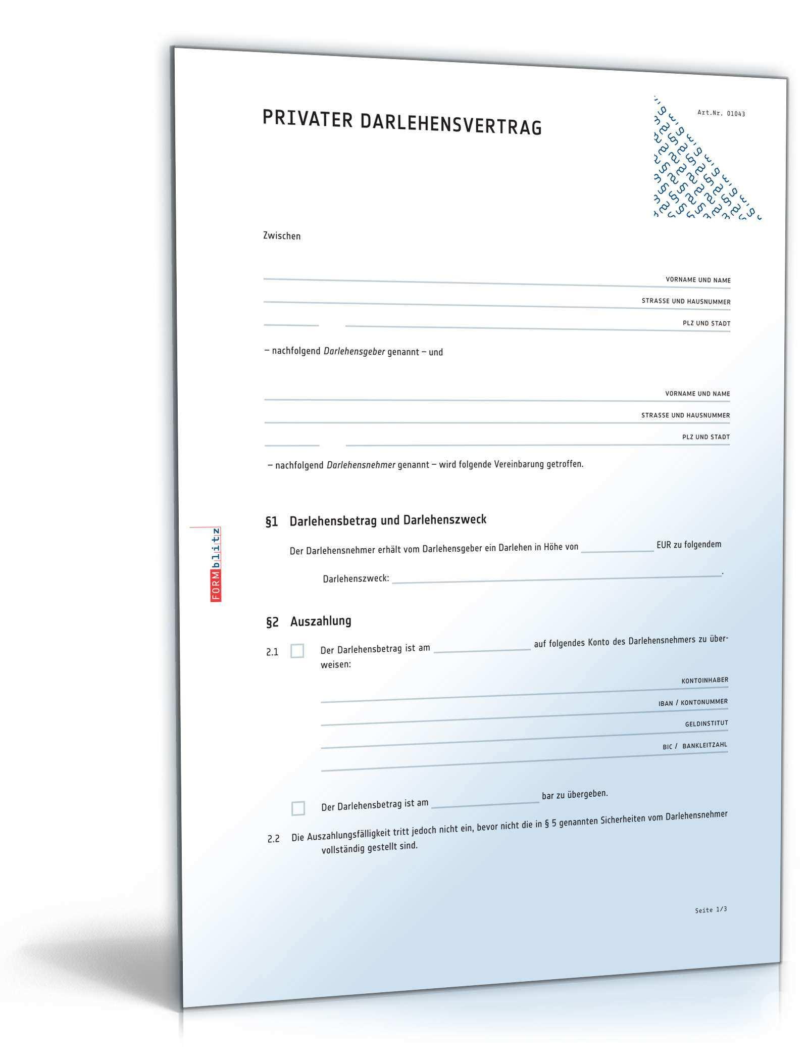 Das Grosse Darlehenspaket Privat Muster Vorlagen Zum Download