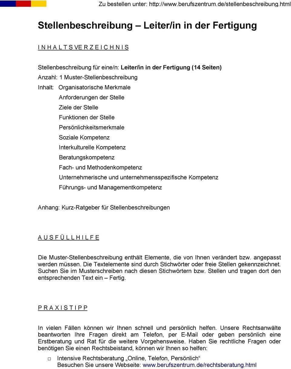 Stellenbeschreibung Leiter In In Der Fertigung Pdf Free Download