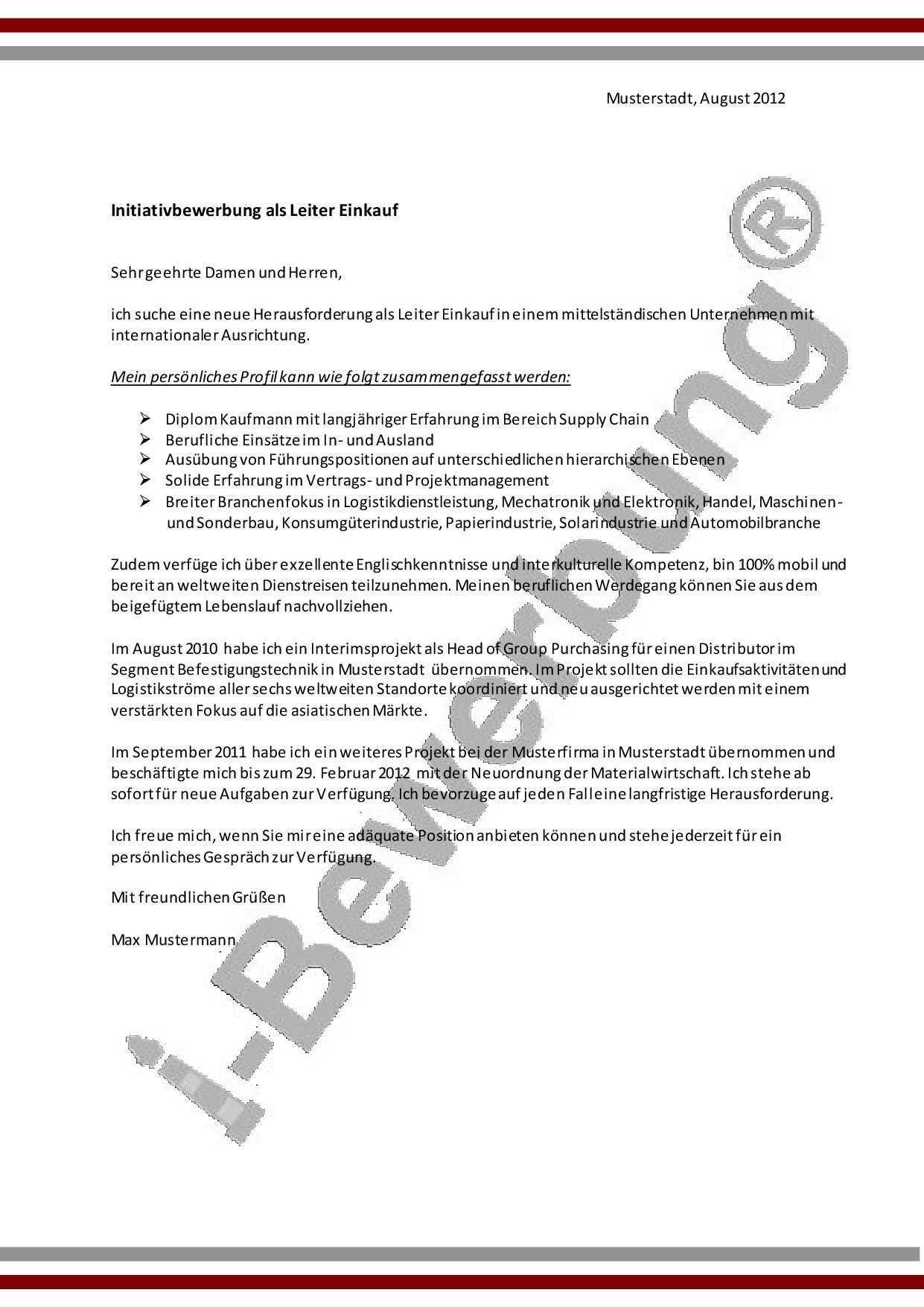 Initiativbewerbung Leiter Einkauf Muster Anschreiben Anschreiben Bewerbung Bewerbung Schreiben