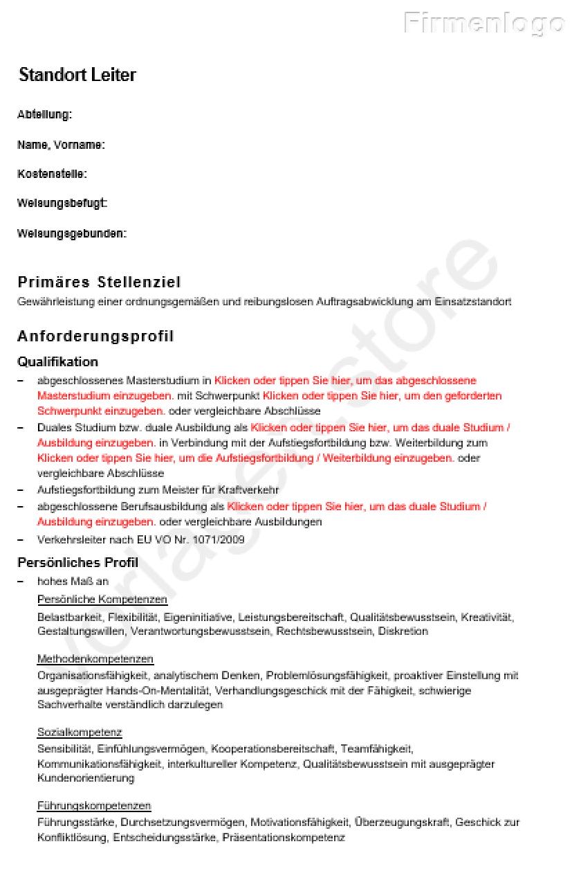 Stellenbeschreibung Standort Leiter Vorlagen Store