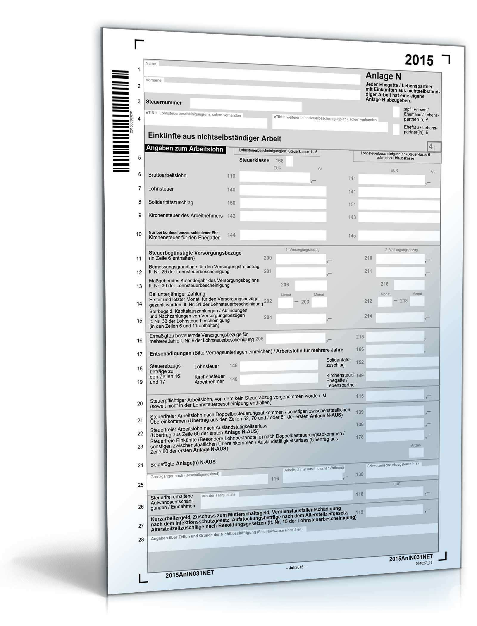 Anlage N 2015 Steuerformular Zum Download