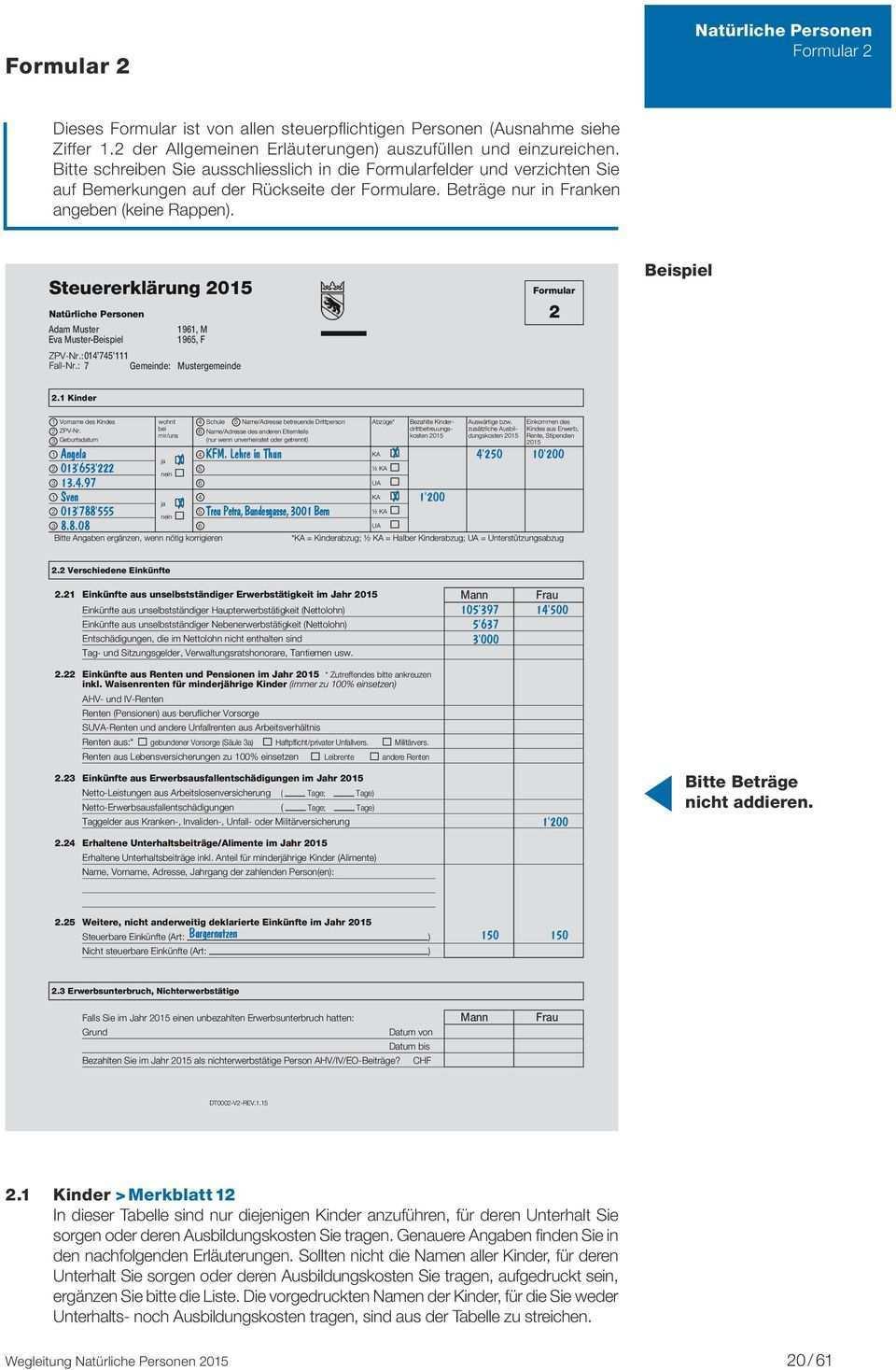 Wegleitung 2015 Zum Ausfullen Der Steuererklarung Kantons Und Gemeindesteuern Direkte Bundessteuer Pdf Kostenfreier Download