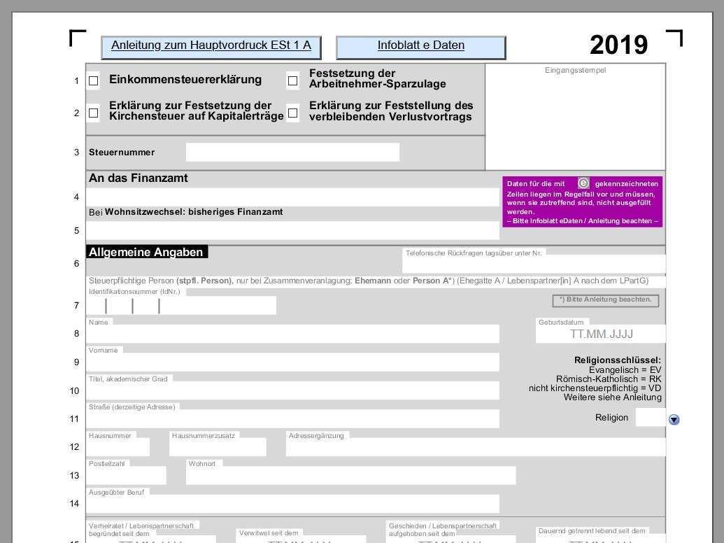 Einkommensteuer 2019 Mit Allen Anlagen Pdf Vorlagen Download Chip