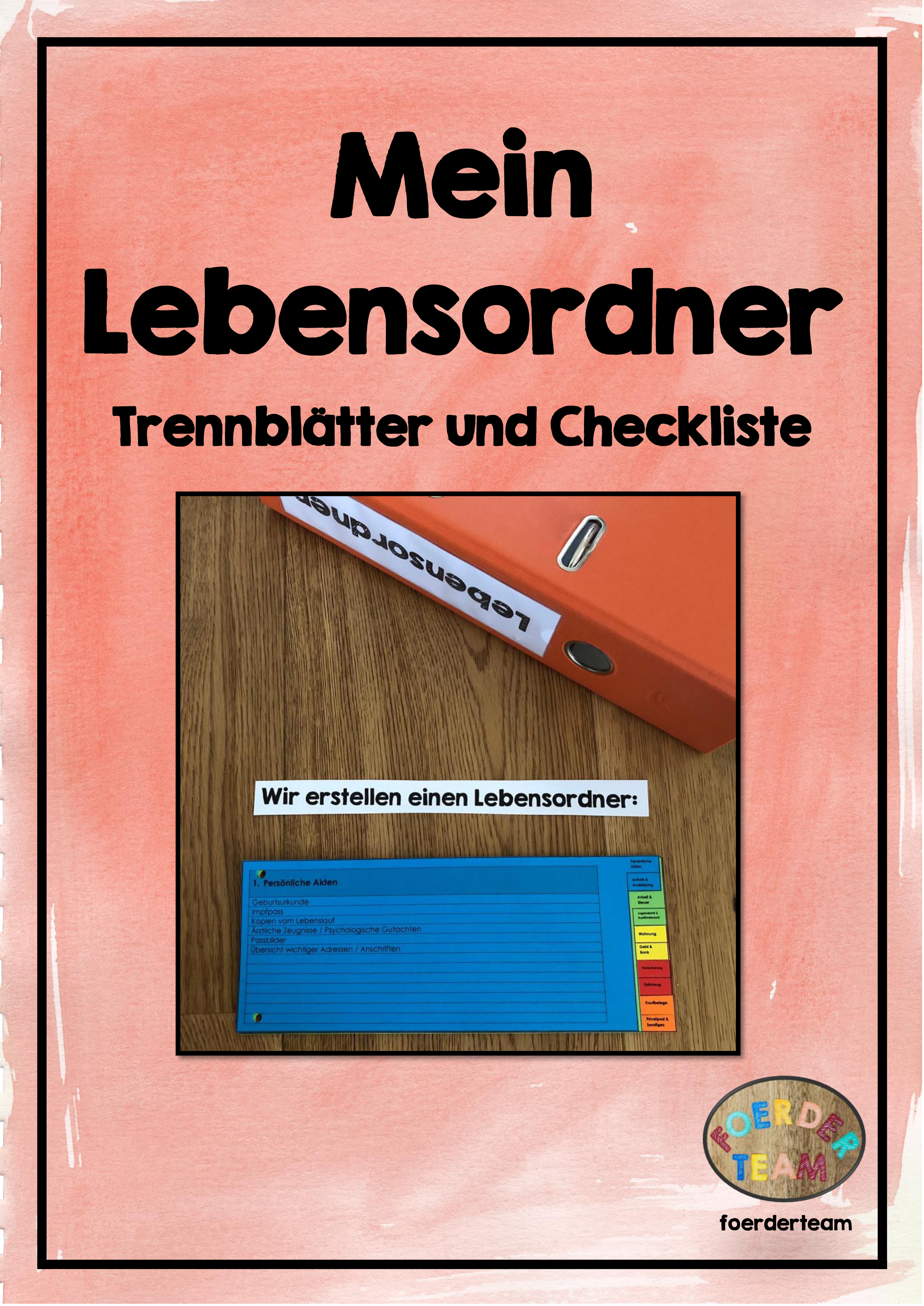 Mein Lebensordner Trennblatter Und Checkliste Unterrichtsmaterial In Den Fachern Arbeitslehre Fachubergreifendes Ordner Checkliste Leben