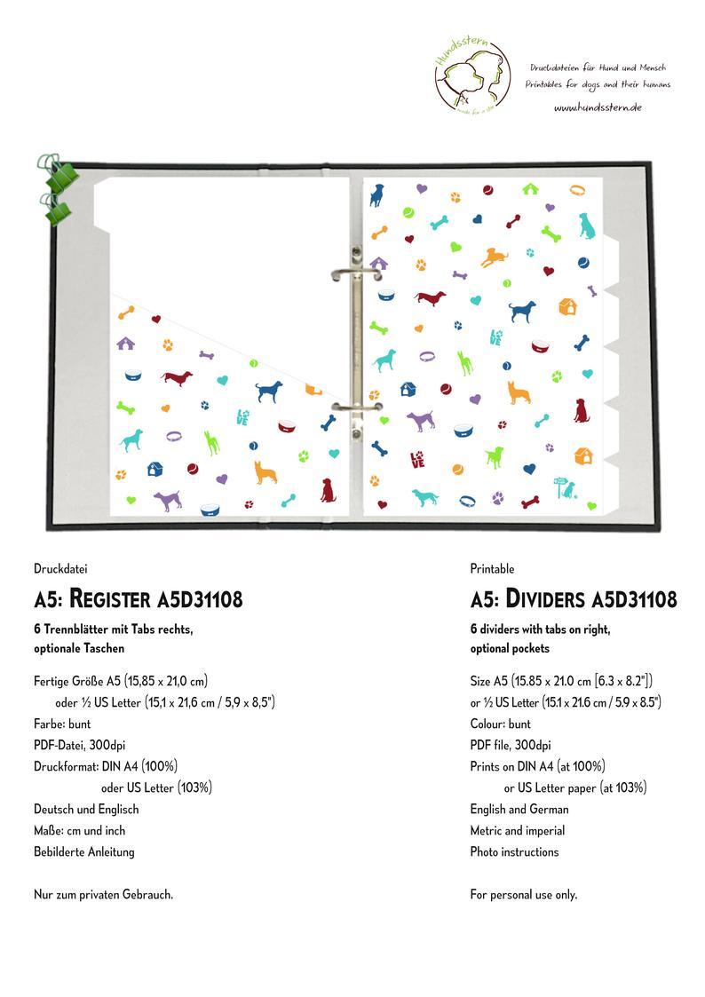 A5 Register Ringplaner Divider Hunde Icons Bunt A5d31108 6 Trennblatter Mit Tabs Rechts 6 Taschen Pdf Datei Download In 2020 Bullet Journal Printables