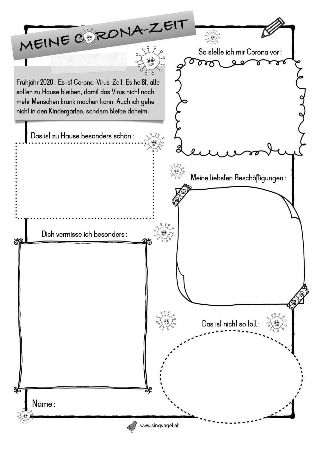 Corona Portfolio Kinder Arbeitsblatter Schulideen Kindergarten Formen