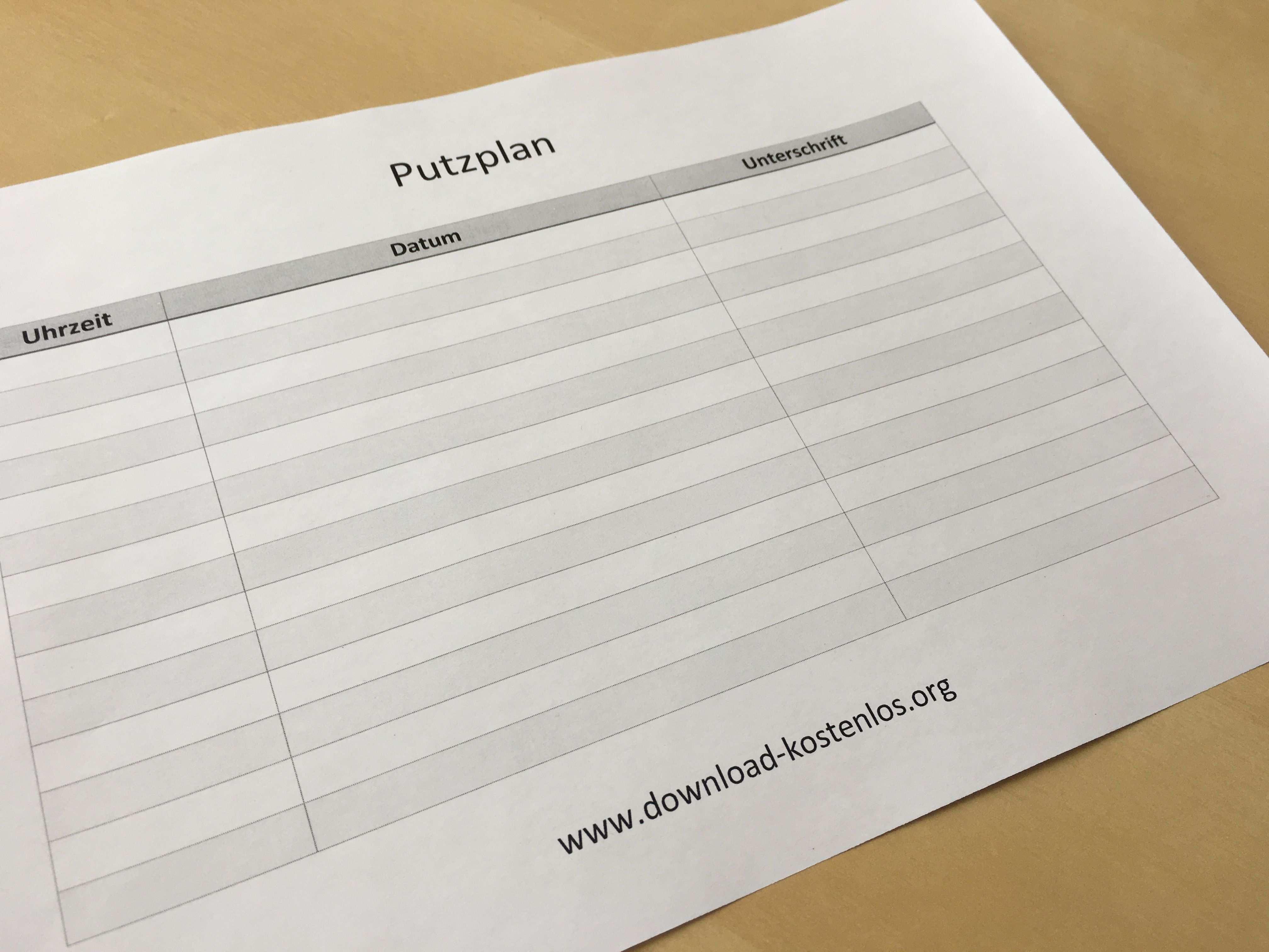 Putzplan Putzplan Planer Vorlagen Vorlagen