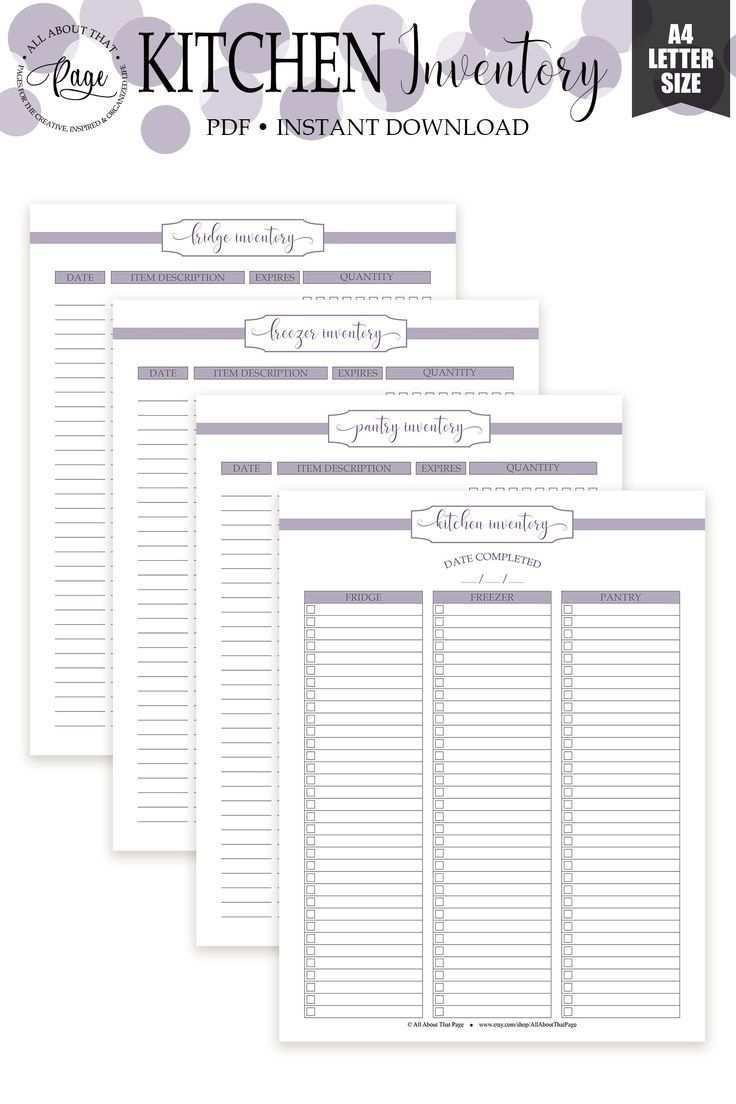 Kucheninventar Zum Ausdrucken Kuhlschrank Mit Gefrierfach Und Vorratsliste Pdf Lila All About That Page Pantry Inventory Printable Kitchen Inventory Pantry Inventory