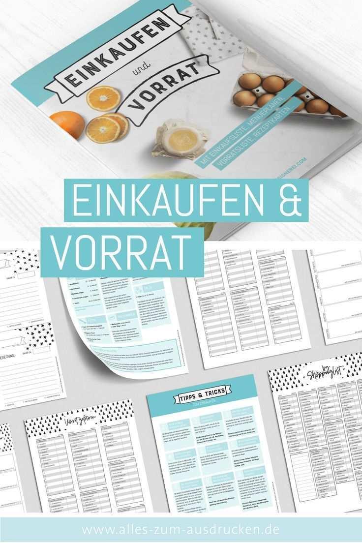 E Book Einkaufen Vorrat Menueplanung Menuplanung Haushalts Ordner Und Speisekammer Organisieren
