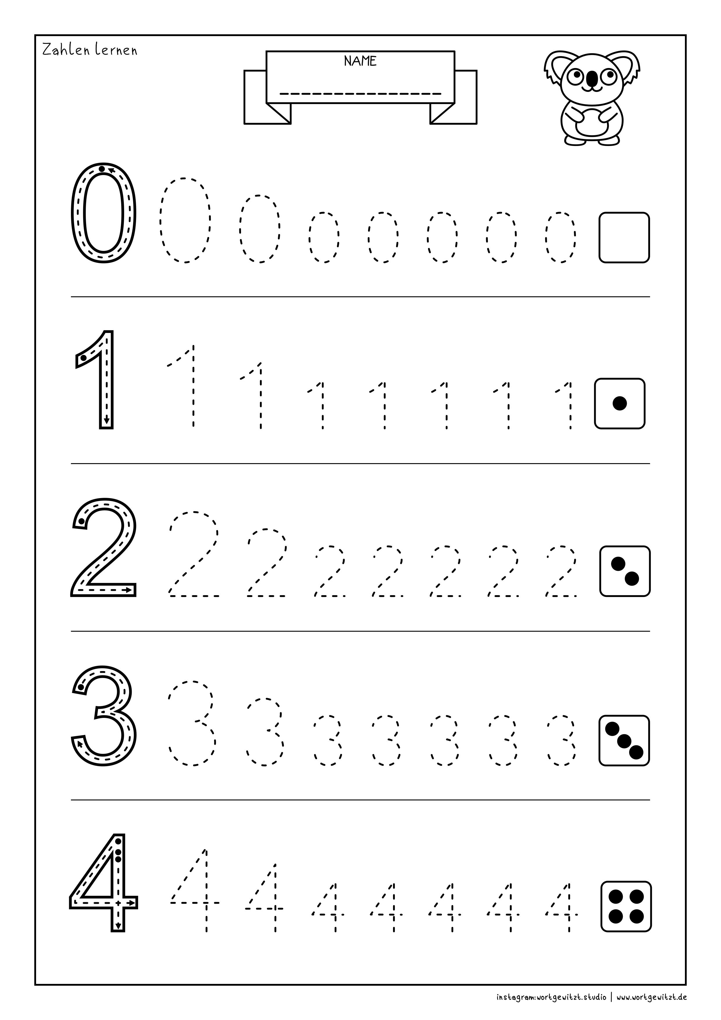 Arbeitsblatt Zahlen Lernen Zahlen Lernen Vorschule Arbeitsblatter Zum Ausdrucken Kostenlose Arbeitsblatter Zum Ausdrucken