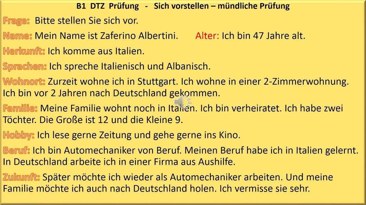Sich Vorstellen B1 Prufung Deutsch Lernen Mundliche Prufung Youtube