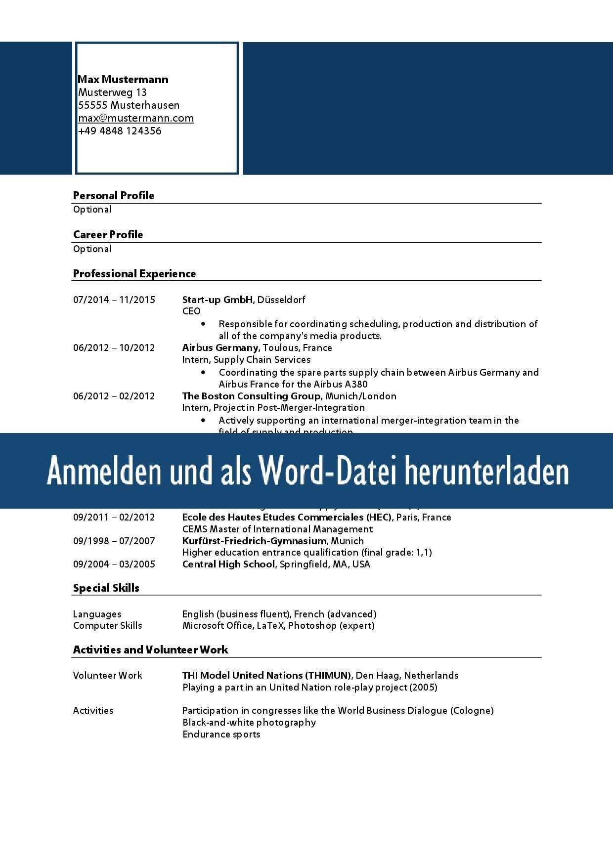 Muster Lebenslauf Word Muster Lebenslauf Englisch Lebenslauf Englisch Muster Word Vorlagen Muster Lebenslau In 2020 Administration Supply Chain Dusseldorf