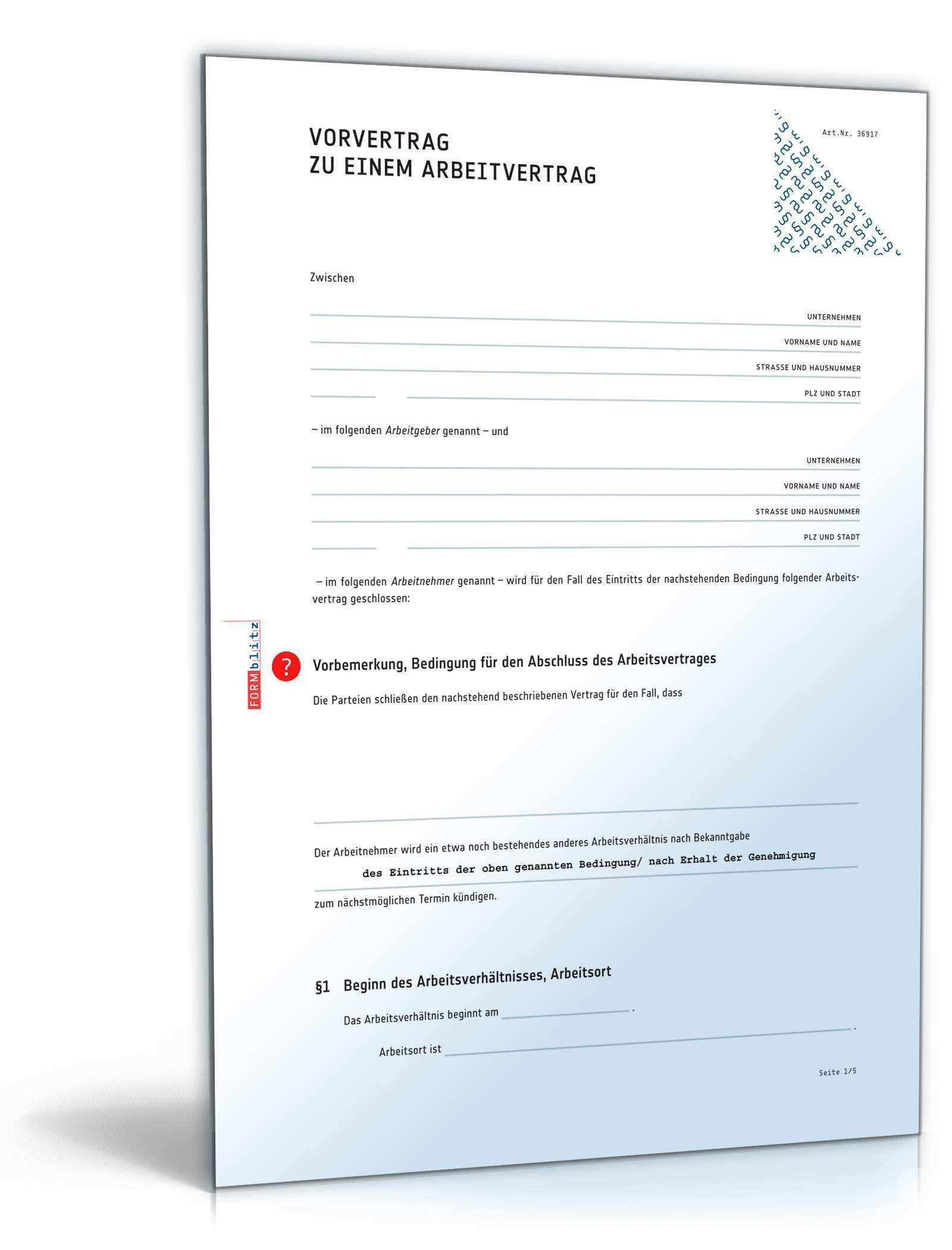 Vorvertrag Arbeitsvertrag Rechtssicheres Muster Zum Download