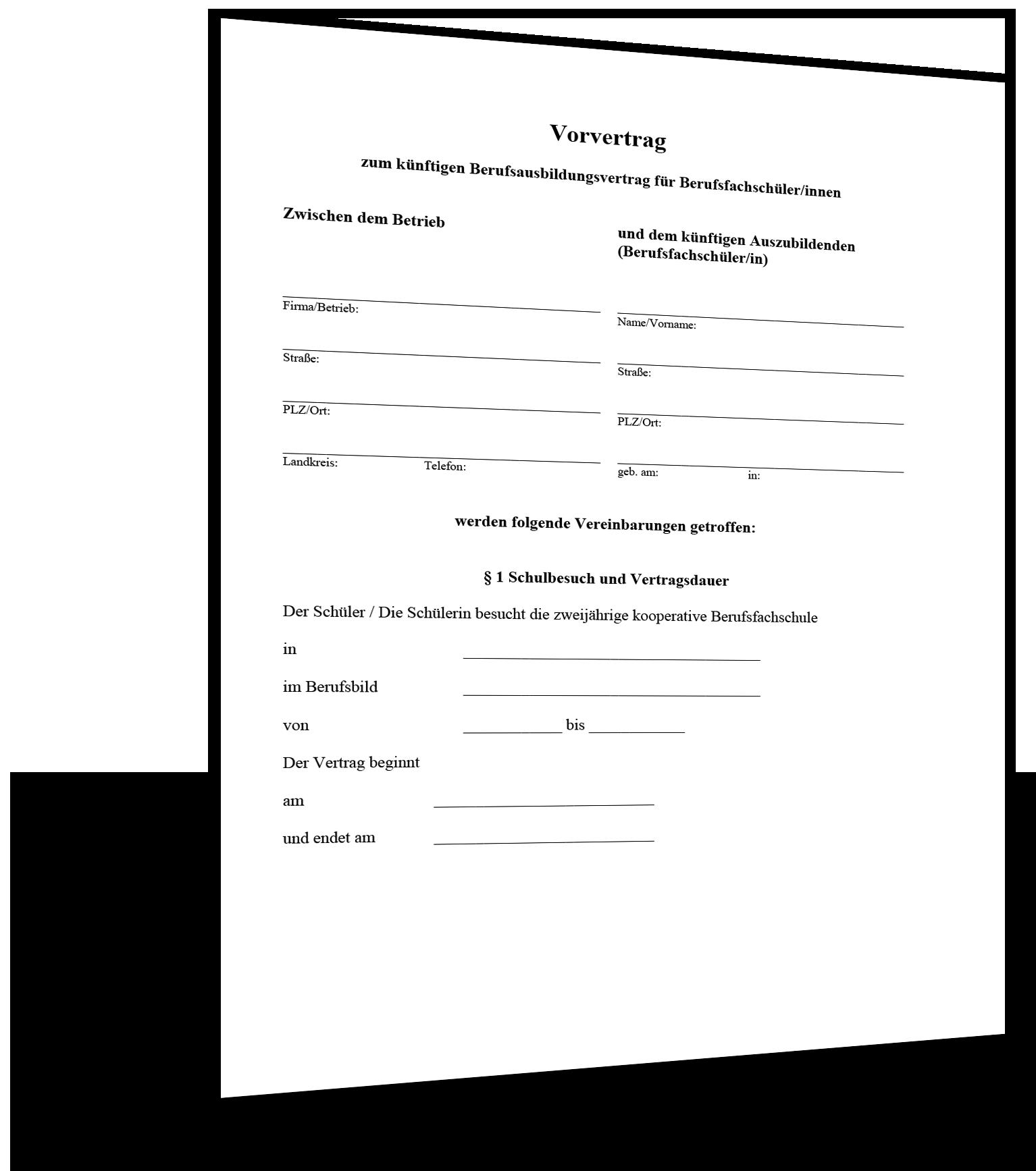 Vorvertrag Berufsausbildung Muster Standardvertraege De