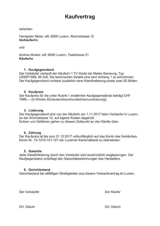 Kaufvertrag Vorlage Schweiz Kostenlos Word Vorlage Downloaden