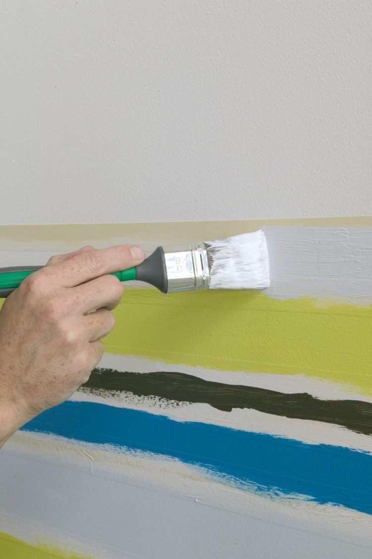 Wand Streichen Muster Selber Machen Streifen Drei Farben Wand Streichen Muster Wande Streichen Wand Streichen Ideen Muster
