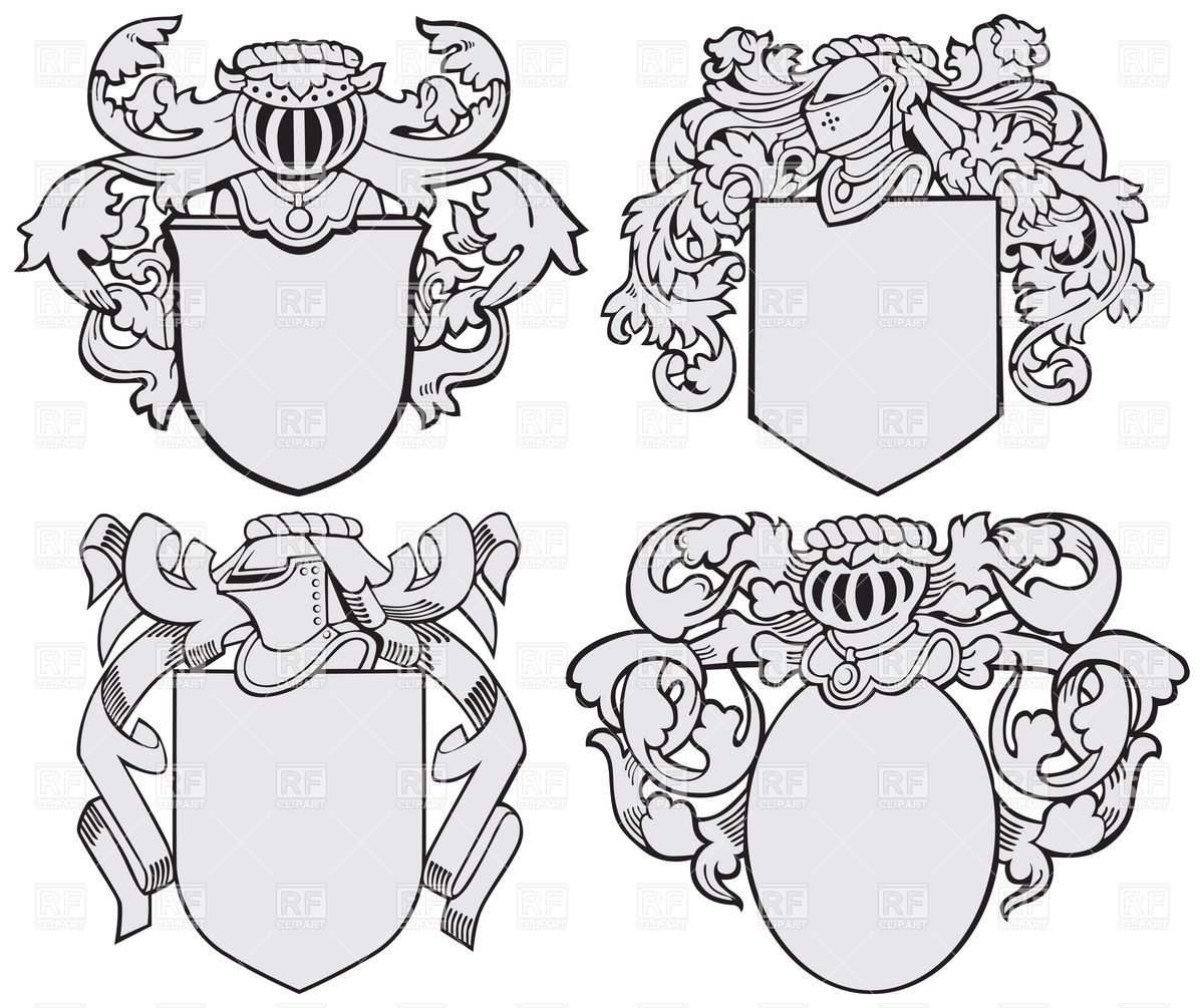 Knightly Coats Of Arms And Royal Heraldic Elements Download Royalty Free Vector File Eps 19118 Jpg 1200 1005 Wappen Vorlage Familienwappen Wappen
