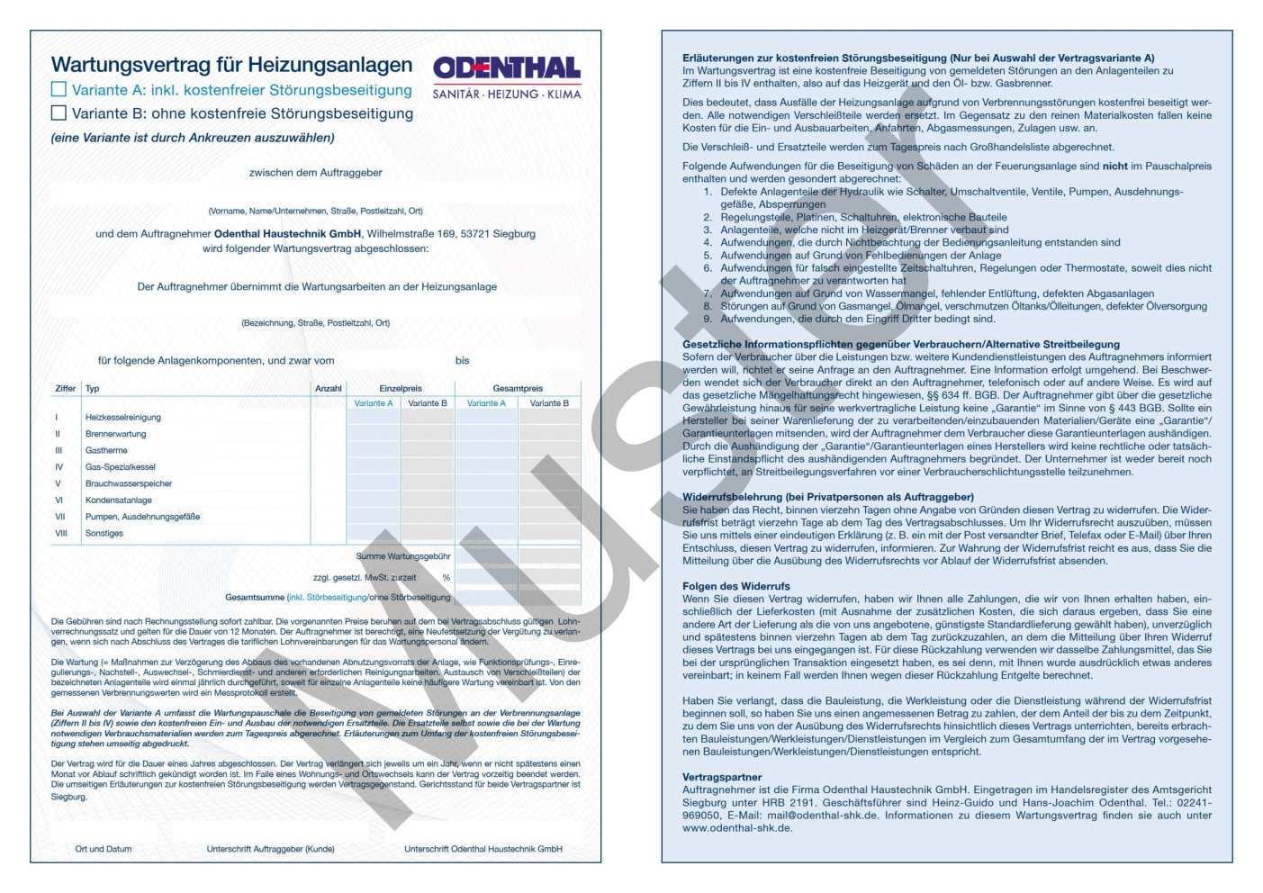 Der Wartungsvertrag Odenthal Sanitar Heizung Klima Siegburg