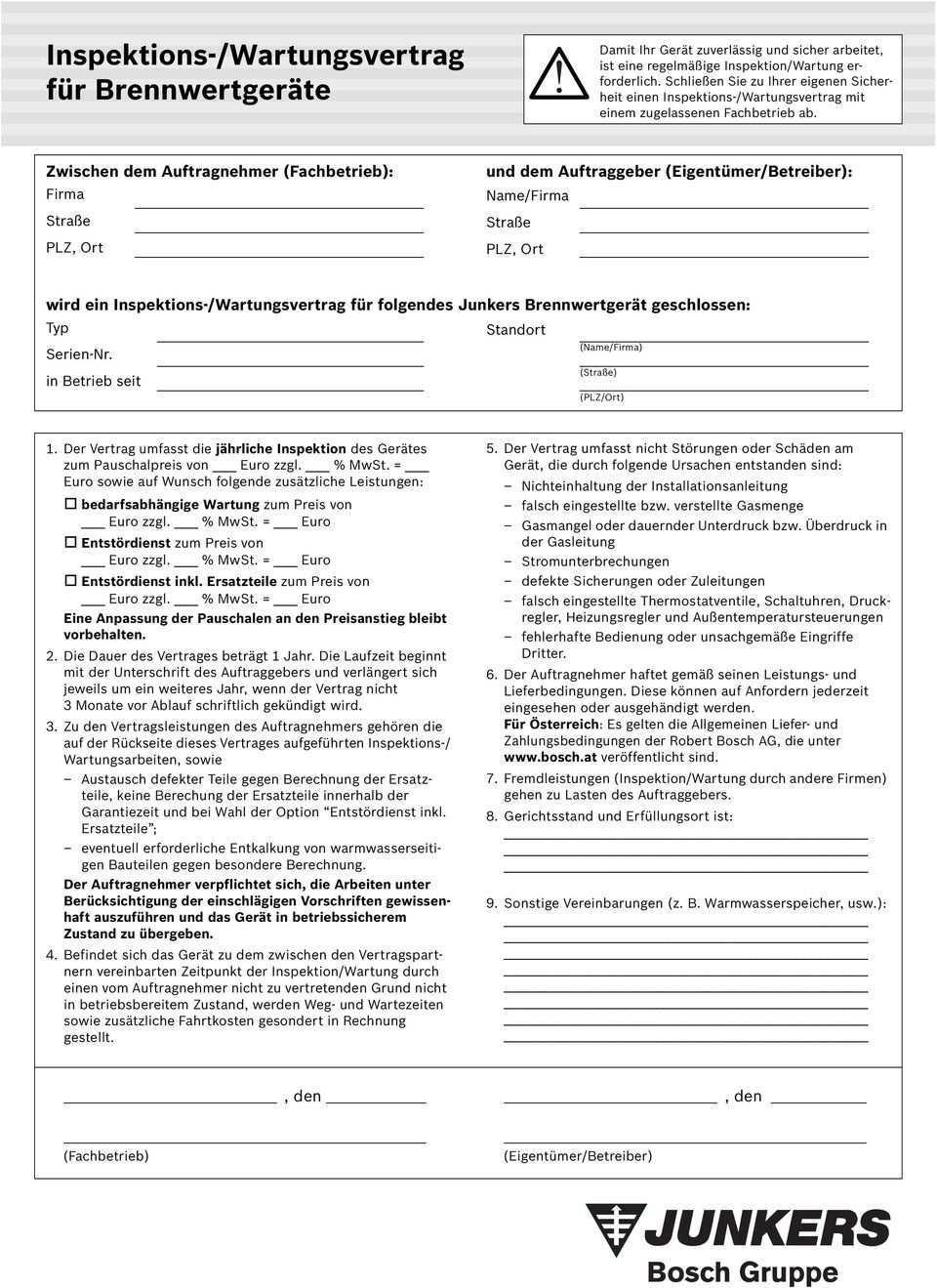 Inspektions Wartungsvertrag Fur Brennwertgerate Pdf Free Download