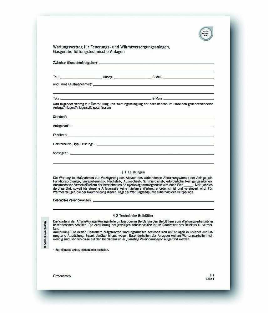 Download Wartungsvertrag Fur Feuerungs Und Warmeversorgungs Oder Gasanlagen Trinkwasser Oder Entwasserungsanlagen Luftungstechnische Anlagen