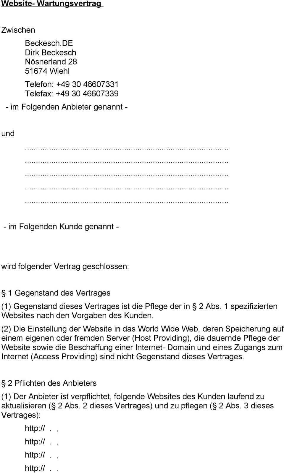 Website Wartungsvertrag Pdf Kostenfreier Download