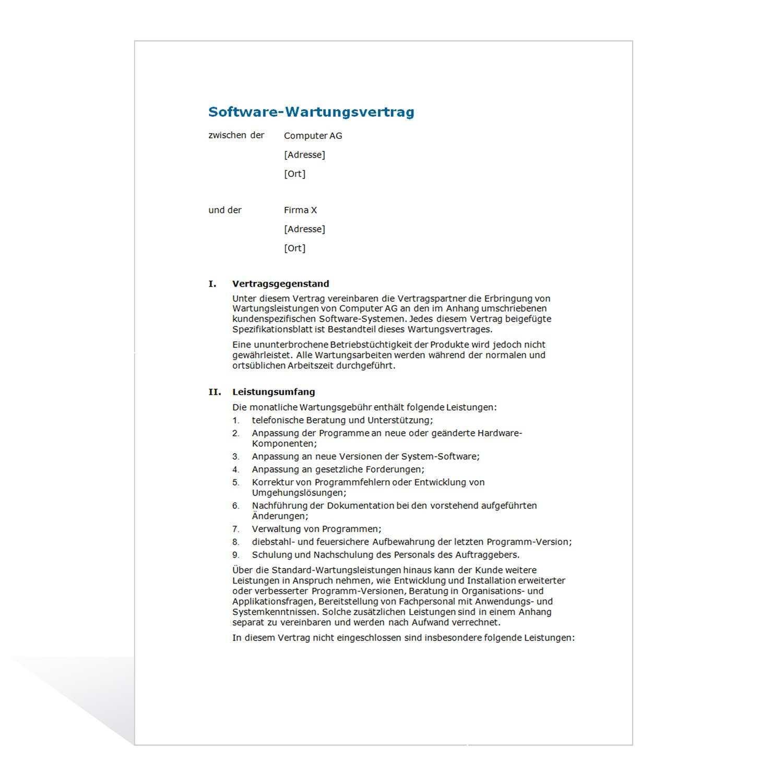 Muster Software Wartungsvertrag
