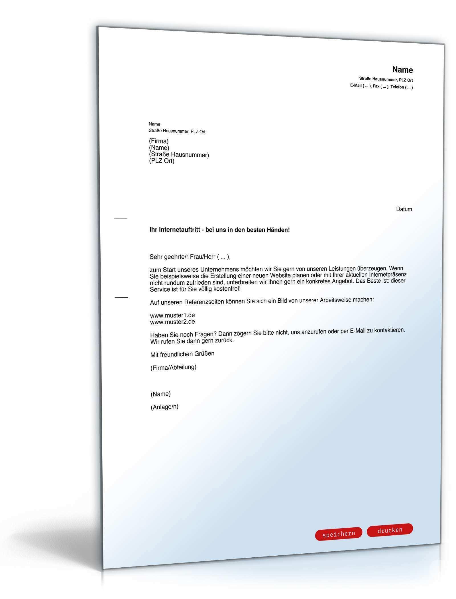 Werbebrief Website Gestaltung Vorlage Zum Download