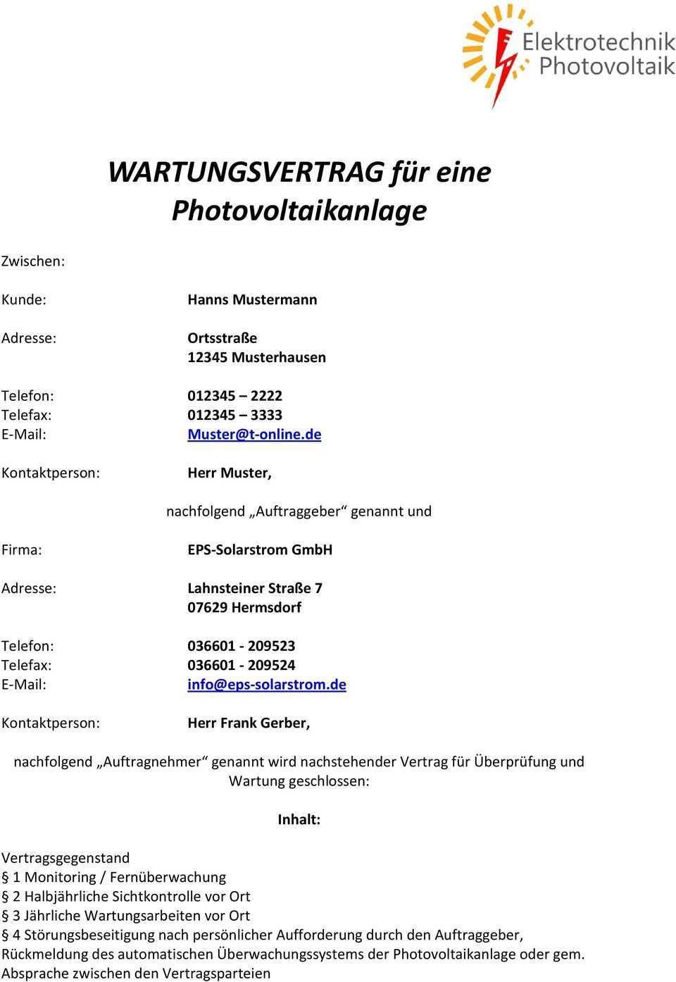 Wartungsvertrag Fur Eine Photovoltaikanlage Pdf Free Download