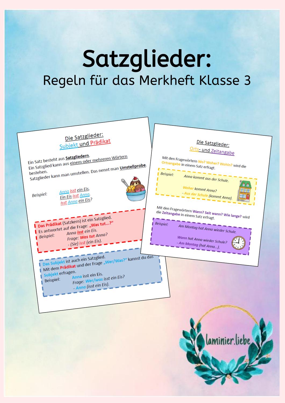 Satzglieder Merksatze Zu Subjekt Pradikat Ort Und Zeit Unterrichtsmaterial Im Fach Deutsch Satzglieder Merken Einfache Satze