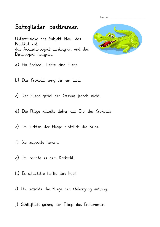 Satzglieder Bestimmen 4 Subjekt Pradikat Dativ Und Akkusativobjekt Mit Losungen Satzglieder Subjekt Pradikat Objekt Lernen