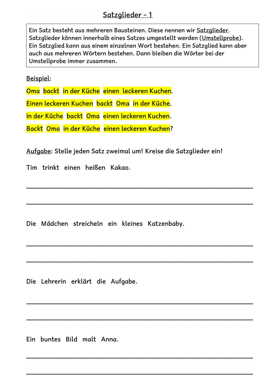 Satzglieder Subjekt Pradikat Umstellprobe Unterrichtsmaterial Im Fach Deutsch Satzglieder Einfache Satze Subjekt Und Pradikat