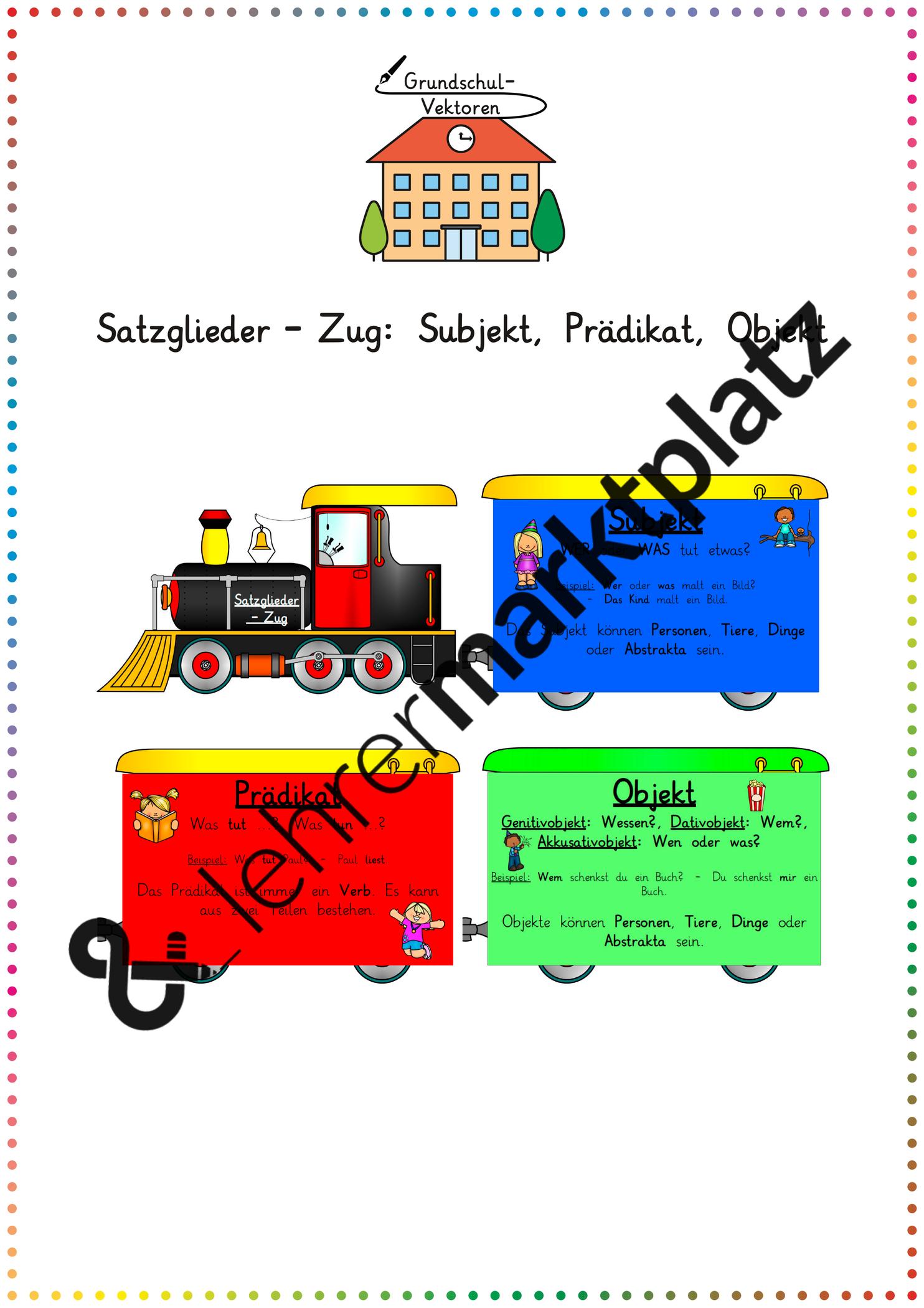 Satzglieder Zug Subjekt Pradikat Objekt Unterrichtsmaterial Im Fach Deutsch Satzglieder Unterrichtsmaterial Subjekt Pradikat Objekt