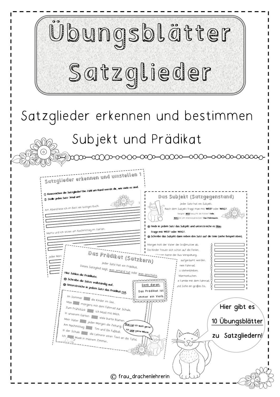 Ubungsblatter Zu Den Satzglieder Subjekt Und Pradikat Unterrichtsmaterial Im Fach Deutsch Satzglieder Subjekt Und Pradikat Ubungsblatt