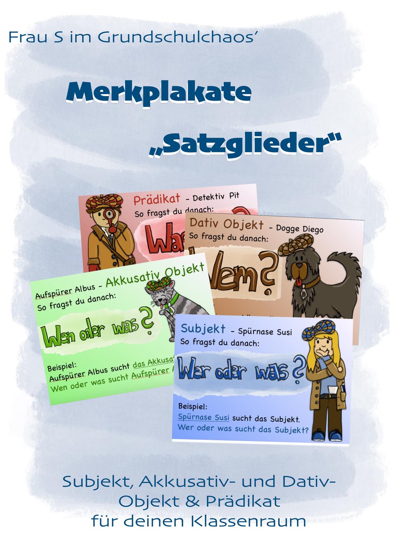 Merkposter Merken Satzglieder Deutsch Lernen