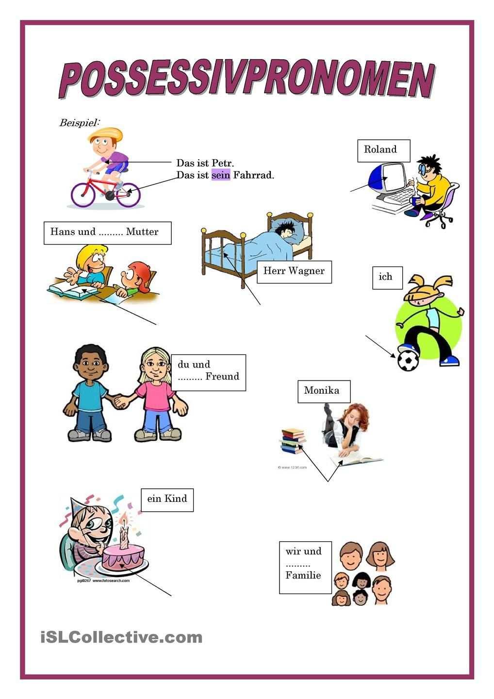 Possessivpronomen Deutsch Lernen Deutsch Kinder Daf