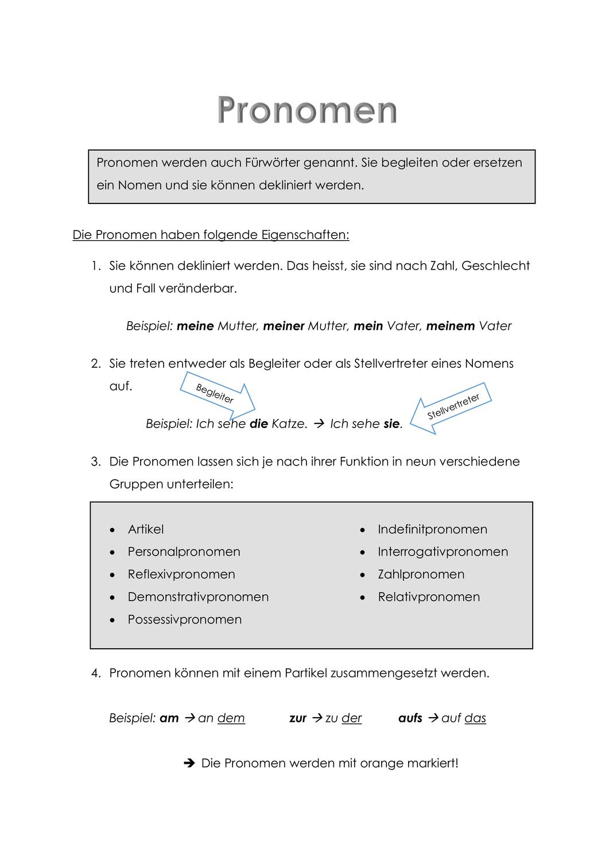 Pronomen Merkmale Unterrichtsmaterial Personalpronomen Deklinieren
