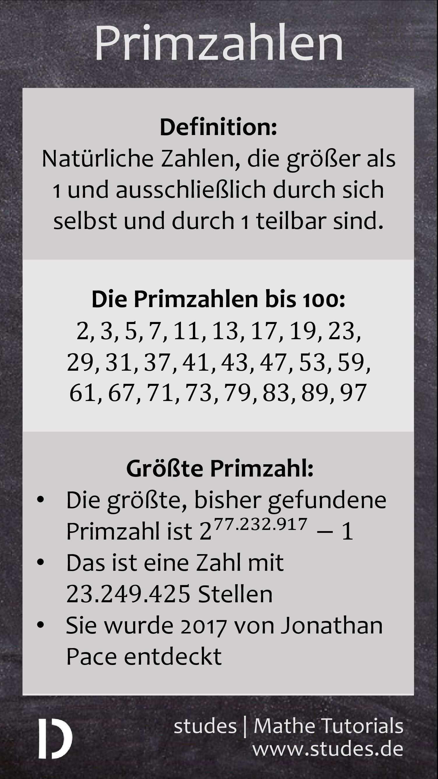 Primzahlen Was Ist Eine Primzahl Primzahlen Bis 100 Die Grosste Primzahl Studes Mehr Spicker Auf Studes De Mathematik Lernen Primzahlen Nachhilfe Mathe