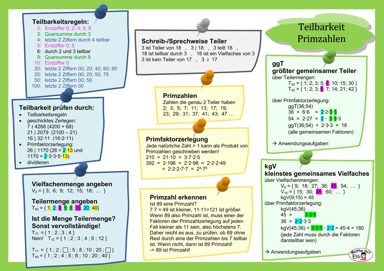 Info Teilbarkeit Primzahlen Teilbarkeitsregeln Primzahlen Primfaktorzerlegung